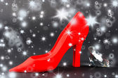 Red women shoe with shiny crystal — Stock Photo