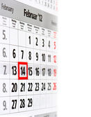 Calendar with red mark on 14 February — Stock Photo