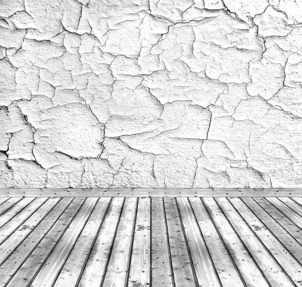 Old white cracked wall and wooden floor — Stock Photo ...