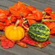 Little pumpkins on wooden table — Stok fotoğraf