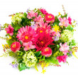 Colorful flower arrangement on white — Stock Photo