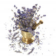 Foto de Stock  : Vintage mortar with dry lavender flowers