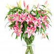 Bouquet of fresh lily flowerson white background — Stock Photo #13511496