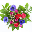 Colorful flowers bouquet in heart shape — Stock Photo