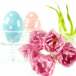 Stock Photo: Easter decoration. spring flowers with easter eggs