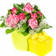 Colorful flowers bouquet with gift box — Stock Photo