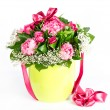 Stock Photo: Colorful flowers bouquet with ribbon