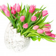 Beautiful pink tulips in the easter egg vase — Stock Photo