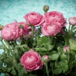 Beautiful bouquet of spring flowers pink ranunculus — Stock Photo