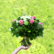 Bouquet of flowers. pink roses. — Foto de Stock