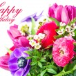 Happy Birthday. Card with colorful flowers. — Stockfoto