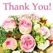 Thank you. card concept. bouquet of pink roses — Stock Photo