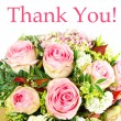 Thank you. card concept. bouquet of pink roses — Stock Photo #13519214