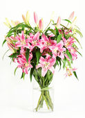 Pink lily flowers bouquet — Stock Photo