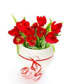 束新鲜春天红色郁金香花 — 图库照片