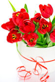 Colorful bouquet of fresh red tulips — Stock Photo