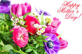Mother's Day Concept. Card with colorful flowers. — Stock Photo