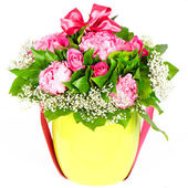 Colorful flowers bouquet with ribbon — Стоковое фото