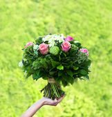 Bouquet of flowers. pink roses. — Stock Photo