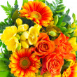 Colorful flowers bouquet. roses and gerbera — Stock Photo
