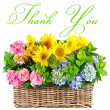 Colorful flowers. thank you. card concept — Stock Photo