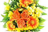 Colorful flowers bouquet. gerbera and roses — Stock Photo
