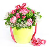 Colorful flowers bouquet with ribbon — Photo