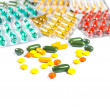 Stock Photo: Assorted pills against white background. Assorted pills