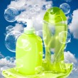 Soap bubbles on cloudy sky background — Stock Photo