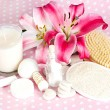 Spa accessories. pink lily flowers — Stock Photo