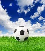 足球球在绿色草地上戏剧性蓝蓝的天空上 — 图库照片