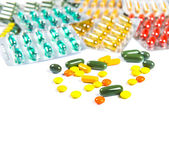 Assorted pills against white background. Assorted pills — Stock Photo