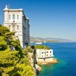 View from Monaco bay with Oceanographic Museum — Stock Photo