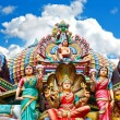 Stock Photo: Hindu temple in Singapore over beautiful blue sky