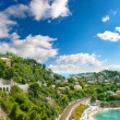 View of luxury resort and bay. french riviera - Stock Photo