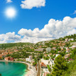Luxury resort and bay with mediterranean sea and blue sky — Stock Photo