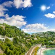 Beautiful coastline of french riviera with blue cloudy sky — Stock Photo