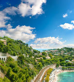View of luxury resort and bay. french riviera — Stok fotoğraf