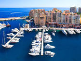 Fontvieille, new district of Monaco. panoramic view of marina — Stock Photo