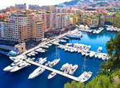 Fontvieille, new district of Monaco. panoramic view of marina — Stockfoto