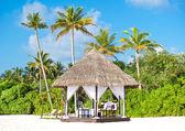 Tropische trouwlocatie. prachtige blauwe hemel en palm bomen — Stockfoto