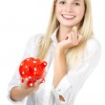 赤い貯金ときれいな女性 — ストック写真