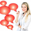 Young woman with red speech bubbles — Stock Photo #13860809