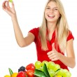 Young smiling woman with fresh berries — Stockfoto