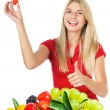Young beautiful woman with fresh fruits and berries — Stock Photo #13860956