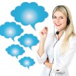 Young woman with speech bubbles — Stock Photo