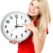 Stock Photo: Young beautiful woman with the clock