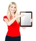 Jovem mulher com tablet pc — Foto Stock