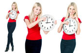 Blonde beautiful girl with the clock — Stock Photo