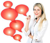 Young woman with red speech bubbles — Stock Photo